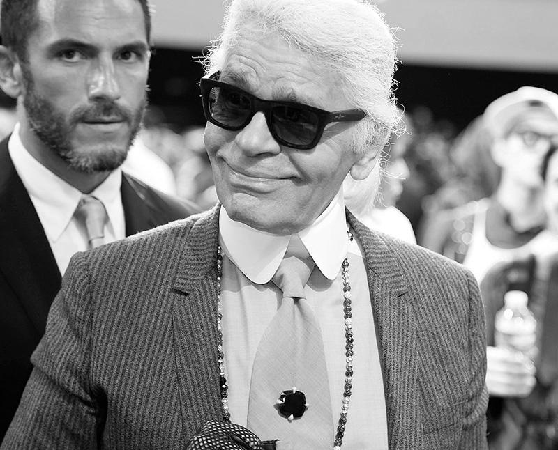 Karl Lagerfeld en el desfile de Dior Homme SS2014